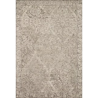 Hand-hooked Transitional Grey/ Taupe Damask Mosaic Rug (3'6 x 5'6)