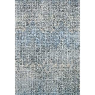 Hand-hooked Transitional Indigo Blue Abstract Mosaic Rug (3'6 x 5'6)