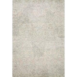 Hand-hooked Transitional Grey/ Blush Pink Abstract Mosaic Rug (3'6 x 5'6)