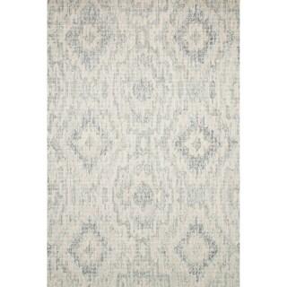 "Alexander Home Transitional Grey/Blue Wool Geometric Hand-hooked Ikat Rug (5' x 7' 6) - 5' x 7'6"""