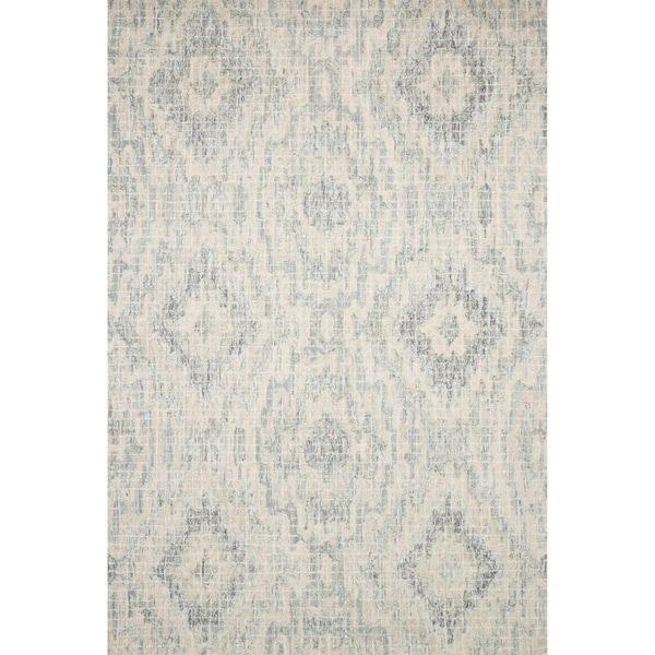 Alexander Home Transitional Grey Blue Wool Geometric Hand Hooked Ikat Rug 5