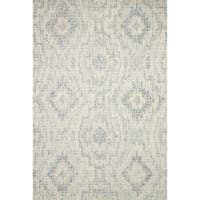 Alexander Home Transitional Grey/Blue Wool Geometric Hand-hooked Ikat Rug (5' x 7' 6) - 5' x 7'6