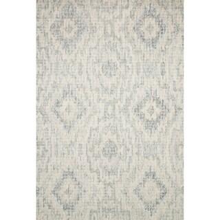 Alexander Home Transitional Grey/Blue Wool Geometric Hand-hooked Ikat Rug (5' x 7' 6)
