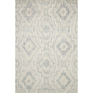 Hand-hooked Transitional Grey/ Blue Geometric Ikat Rug (3'6 x 5'6)