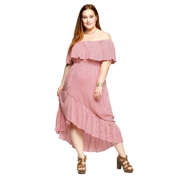 Shop Xehar Womens Plus Size Off Shoulder Stripe Faux Wrap Ruffle ...