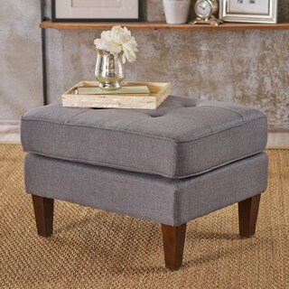 Nasir Mid Century Modern Button Tufted Fabric Ottoman by Christopher Knight Home