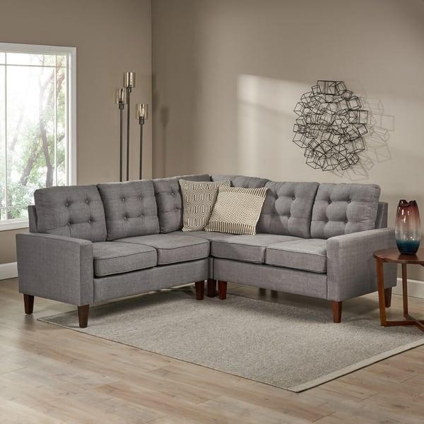 Shop Nasir Mid Century Modern 3-piece Sectional Sofa Set by ...