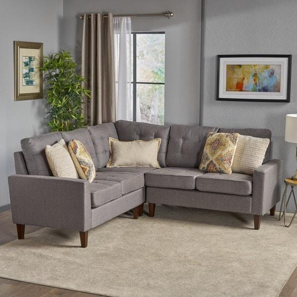 Shop Nasir Mid Century Modern 3-piece Sectional Sofa Set ...