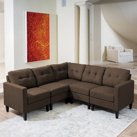 Emmie Mid-century Modern 5-piece Sectional Sofa Set by Christopher Knight Home