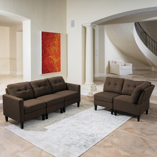 Awesome Shop Emmie Mid Century Modern 5 Piece Sectional Sofa Set By Pabps2019 Chair Design Images Pabps2019Com