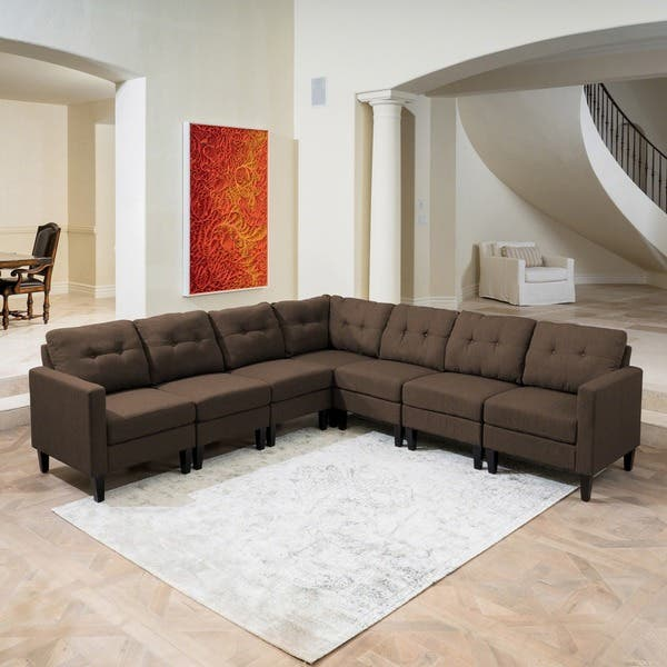 Shop Emmie Mid Century Modern 7-piece Sectional Sofa Set by ...