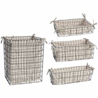 Metal & Fabric Home Baskets, Set of 4, Gray