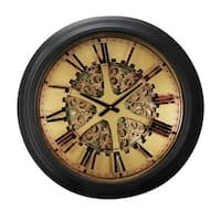 Vintage Roman Number Clock, Black and Copper - N/A