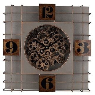 Contemporary Style Metallic Square Clock, Brown and Gray