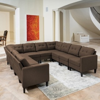 Link to Emmie Mid Century Modern 10-piece U-shaped Sectional Sofa Set by Christopher Knight Home Similar Items in Living Room Furniture