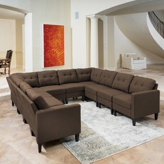 Emmie Mid Century Modern 10-piece U-shaped Sectional Sofa Set by Christopher Knight Home