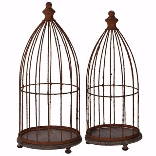 Decorous Metal and Wood Glendive Birdcages, Brown, Set of 2