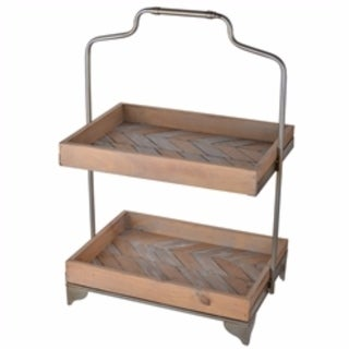 Aesthetically Charmed 2-Tier Wooden Trays, Brown