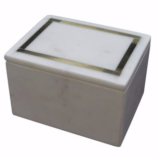 Practically Beautiful Marble Accent Box, White