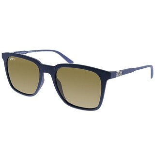 Salvatore Ferragamo Square SF 843S 454 Unisex Matte Blue Frame Brown Lens Sunglasses