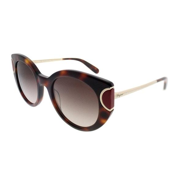 5131298555c Salvatore Ferragamo Cat-Eye SF 829S 207 Women Havana Red Frame Brown  Gradient Lens Sunglasses