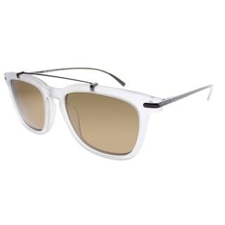 Salvatore Ferragamo Square SF 820S 112 Unisex Matte Crystal Frame Brown Lens Sunglasses