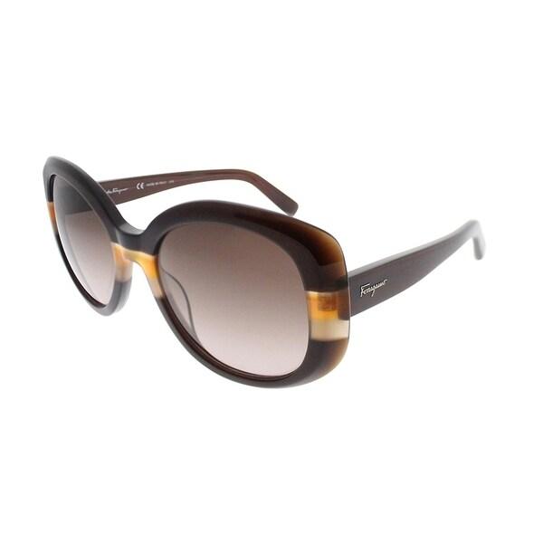 f119f06213f Salvatore Ferragamo Oval SF 793S 230 Women Brown Crystal Orange Frame Red Gradient  Lens Sunglasses