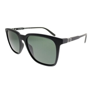 Salvatore Ferragamo Square SF 843S 002 Unisex Matte Black Frame Grey Lens Sunglasses