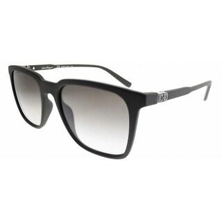 Salvatore Ferragamo Square SF 843S 337 Unisex Matte Olive Green Frame Grey Gradient Lens Sunglasses