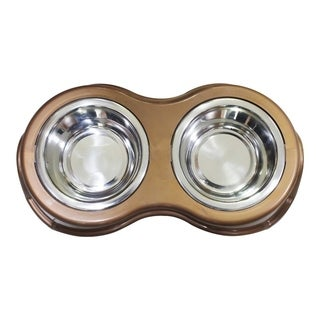 Plastic Framed Double Diner Pet Bowl in Stainless Steel, Small, Gold and Silver