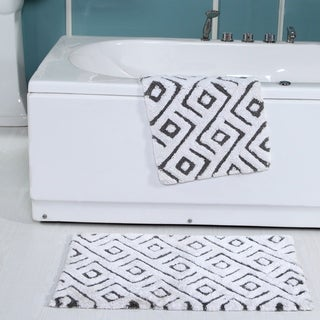 100 Percent Cotton Modern Bath Rug-2 Piece