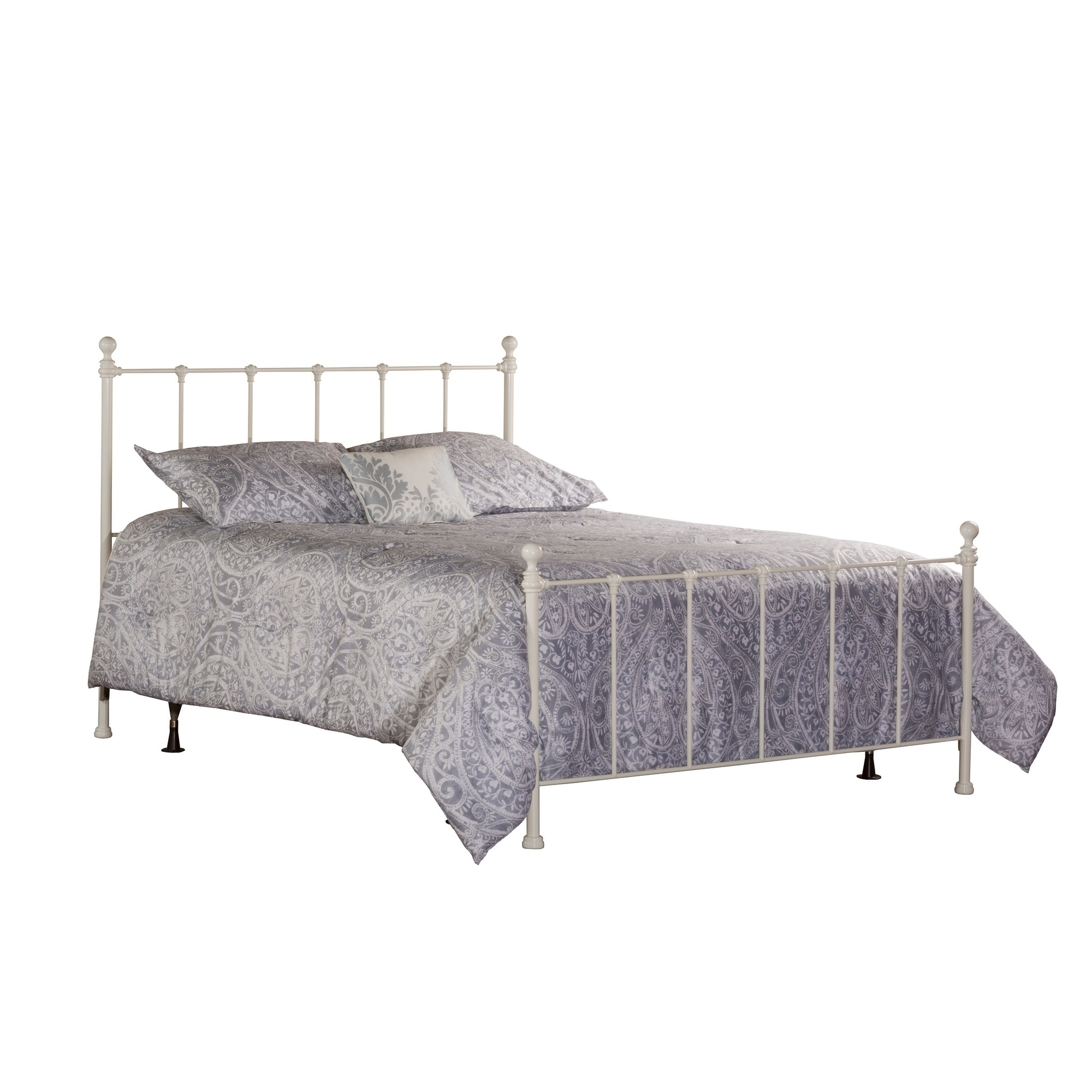 Molly Traditional White Metal Full Size Youth Bed Set Rails Not Included