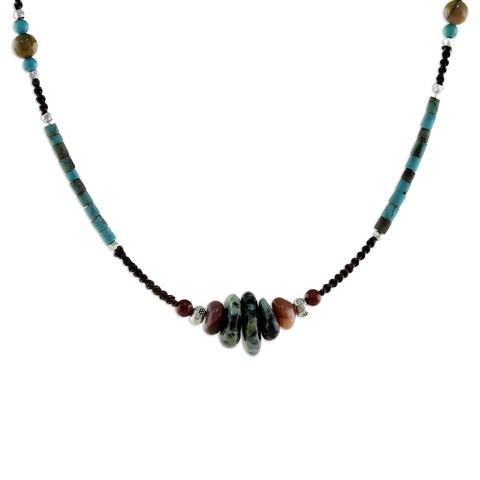 Handmade Silver 'Bohemian Harmony' Multi-gemstone Necklace (Thailand)