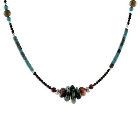 Handmade Silver Bohemian Harmony Multi-gemstone Necklace (Thailand)