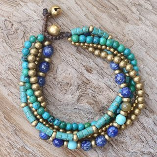 Handmade Brass 'Freedom of Expression in Blue' Multi-gemstone Bracelet (Thailand)