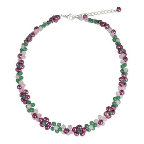 Handmade Sterling Silver Overlay 'Blossoming Rainbow' Quartz Pearl Necklace (Thailand)