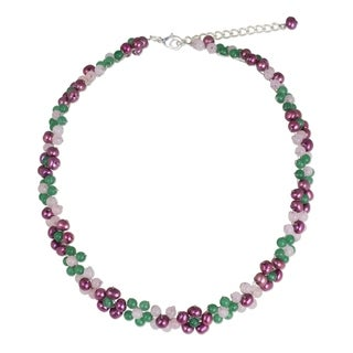Link to Handmade Sterling Silver Overlay 'Blossoming Rainbow' Quartz Pearl Necklace (Thailand) Similar Items in Bracelets