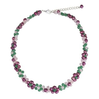 Handmade Sterling Silver Overlay 'Blossoming Rainbow' Quartz Pearl Necklace (5.5 mm) (Thailand)