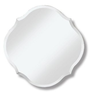 Frameless Round Mirror with Scalloped Edges