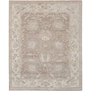 eCarpetGallery Hand-Knotted Finest Ushak Grey Wool Rug (8'2 x 10'0)
