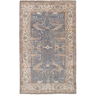 eCarpetGallery Jules Blue Rayon from Bamboo Hand-knotted Area Rug (4'9 x 8'2)