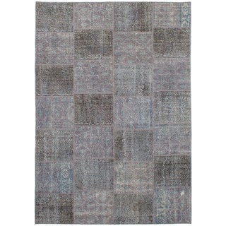eCarpetGallery Hand-Knotted Color Transition Patch Grey Wool Rug (6'9 x 10'0)