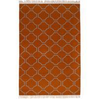 eCarpetGallery Flatweave Ankara Kilim Orange Wool Kilim Rug