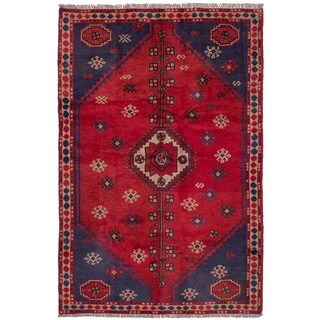 eCarpetGallery Hand-Knotted Shiraz Red Wool Rug (5'3 x 8'0)