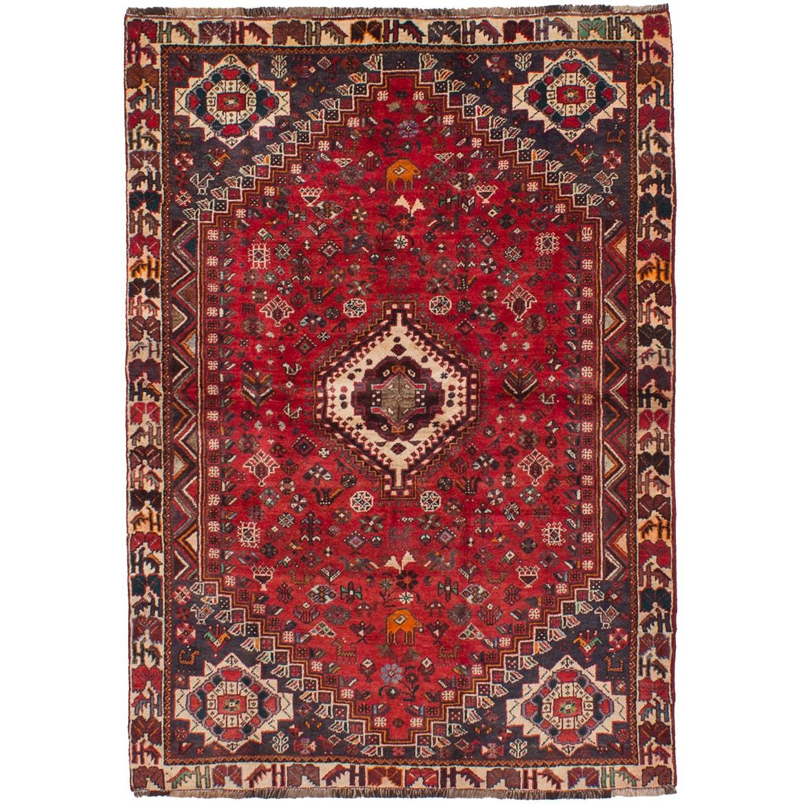 Ecarpetgallery Hand-Knotted Shiraz Qashqai Red Wool Rug (...