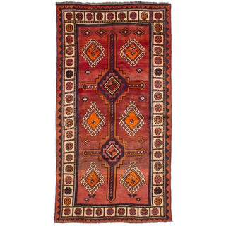 eCarpetGallery Hand-Knotted Shiraz Qashqai Red Wool Rug (4'4 x 8'2)