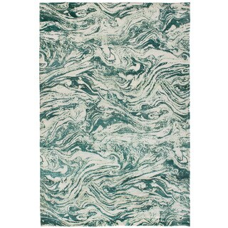 eCarpetGallery Hand-Knotted Galleria Green, Ivory Art Silk Rug (5'0 x 7'8)