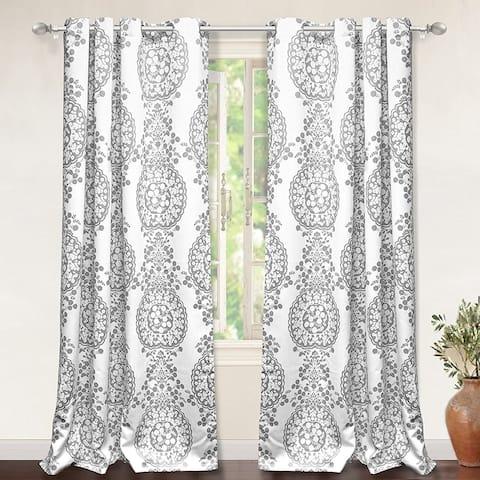 DriftAway Samantha Pastel Damask Printed Room Darkening Grommet Window Curtain Panel Pair