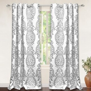 DriftAway Samantha Pastel Damask Printed Room Darkening Grommet Window Curtain Panel Pair