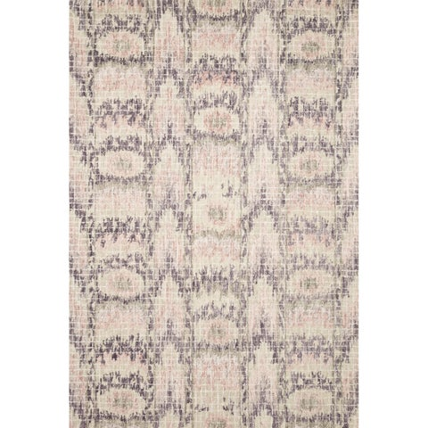Alexander Home Blush Pink/Grey Wool Hand-hooked Transitional Ikat Area Rug (7'9 x 9'9) - 7'9 x 9'9